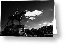 royal scots greys boer war monument in princes street gardens with edinburgh castle in the backgroun Greeting Card by Joe Fox