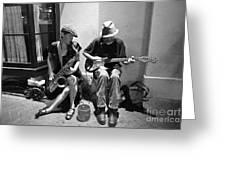 Royal Street Music Greeting Card by Leslie Leda