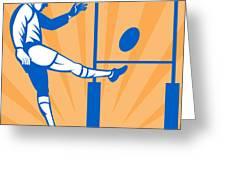 Rugby Goal Kick Greeting Card by Aloysius Patrimonio