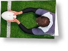 Rugby Player Scoring A Try With Both Hands. Greeting Card by Richard Thomas