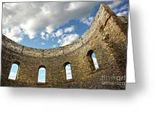 Ruin wall with windows of an old church  Greeting Card by Sandra Cunningham