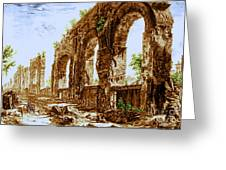 Ruins Of Roman Aqueduct, 18th Century Greeting Card by Science Source