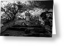 Ruins Of Warwick In Black And White Greeting Card by Laura George