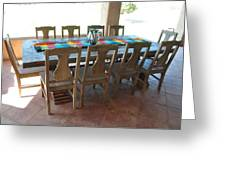 Rustic Table For Outside Living Room Greeting Card by Thor Sigstedt