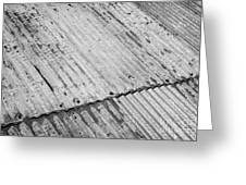 Rusting Repaired Corrugated Iron Roof Sheeting In Edinburgh Greeting Card by Joe Fox