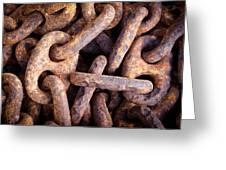 Rusty Anchor Chains In Key West Greeting Card by Adam Pender