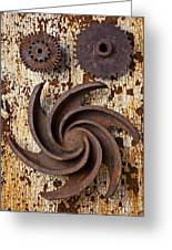 Rusty Gears Greeting Card by Garry Gay
