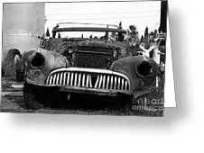 Rusty Old American Car . 7d10343 . Black And White Greeting Card by Wingsdomain Art and Photography