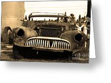 Rusty Old American Car . 7d10343 . Sepia Greeting Card by Wingsdomain Art and Photography
