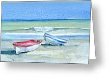 Sabinillas Fishing Boats Greeting Card by Stephanie Aarons