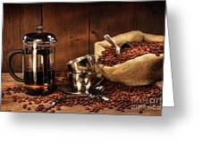 Sack Of Coffee Beans With French Press Greeting Card by Sandra Cunningham
