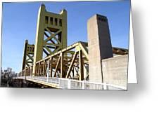 Sacramento California Tower Bridge Crossing The Sacramento Delta River . 7d11553 Greeting Card by Wingsdomain Art and Photography
