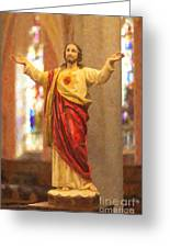 Sacred Heart Of Jesus Greeting Card by Clarence Holmes