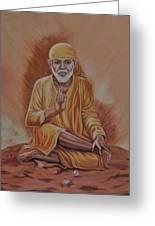 Sai Baba Of Shirdi Painting Greeting Card by Anju Rastogi