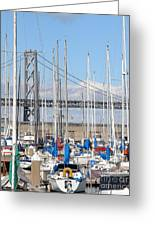 Sail Boats At San Francisco China Basin Pier 42 With The Bay Bridge In The Background . 7d7683 Greeting Card by Wingsdomain Art and Photography