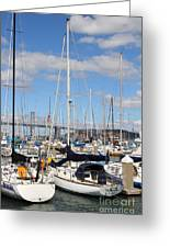 Sail Boats At San Francisco China Basin Pier 42 With The Bay Bridge In The Background . 7d7685 Greeting Card by Wingsdomain Art and Photography