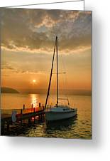 Sailboat And Sunrise Greeting Card by Steven Ainsworth