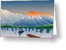 Sailboat Jetty  Mountains Retro Greeting Card by Aloysius Patrimonio
