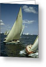 Sailboats Cross A Starting Line Greeting Card by B. Anthony Stewart