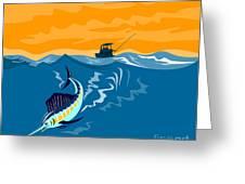 Sailfish Fish Jumping Retro Greeting Card by Aloysius Patrimonio