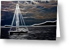 Sailing At Night Greeting Card by Mila Agirre