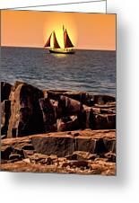 Sailing In Grand Marais Greeting Card by Bill Tiepelman