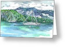 Sailing Lake Tahoe Greeting Card by Cathie Richardson