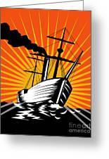Sailing Ship Retro Woodcut Greeting Card by Aloysius Patrimonio