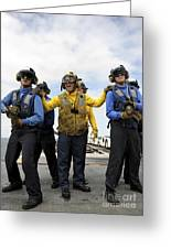 Sailors Fight A Simulated Fire Aboard Greeting Card by Stocktrek Images