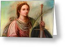 Saint Catherine Of Alexandria Painting Greeting Card by Munir Alawi