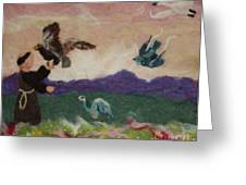Saint Francis and the Birds Greeting Card by Nicole Besack