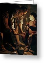 Saint Joseph The Carpenter  Greeting Card by Georges de la Tour