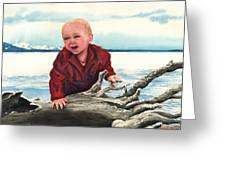 Sam And The Log Greeting Card by Sam Sidders