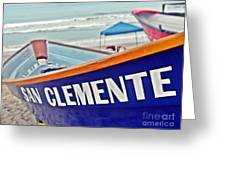 San Clemente Dory Boat Greeting Card by Traci Lehman