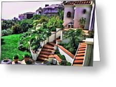 San Clemente Estate Backyard Greeting Card by Kathy Tarochione