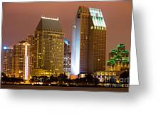 San Diego City At Night Greeting Card by Paul Velgos