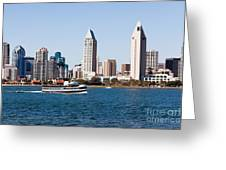 San Diego Skyline And Tour Boat Greeting Card by Paul Velgos