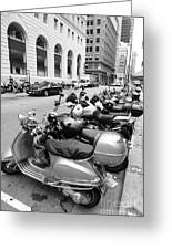 San Francisco - Scooters And Motorcycles Along Sansome Street - 5d17657 - Black And White Greeting Card by Wingsdomain Art and Photography