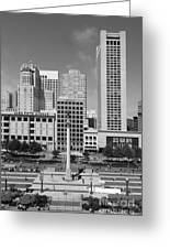 San Francisco - Union Square - 5d17941 - Black And White Greeting Card by Wingsdomain Art and Photography