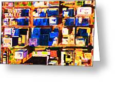San Francisco Birdseye Abstract . Painterly Greeting Card by Wingsdomain Art and Photography