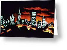 San Francisco Black Light Greeting Card by Thomas Kolendra