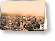 San Francisco Skyline 1909 . Ferry Building and Alcatraz Greeting Card by Wingsdomain Art and Photography