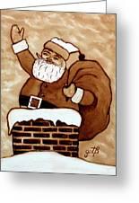 Santa Claus Gifts Original Coffee Painting Greeting Card by Georgeta  Blanaru