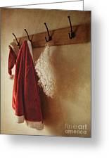 Santa Costume Hanging On Coat Rack Greeting Card by Sandra Cunningham