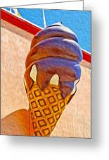 Santa Cruz Boardwalk - Giant Ice Cream Cone Greeting Card by Gregory Dyer