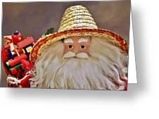 Santa Is A Gardener Greeting Card by Christine Till