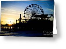 Santa Monica Pier Ferris Wheel Sunset Southern California Greeting Card by Paul Velgos