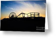 Santa Monica Pier Sunset Photo Greeting Card by Paul Velgos