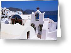 Santorini Architecture Greeting Card by Paul Cowan