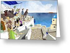 Santorini Rooftop  Greeting Card by Sean Hagan